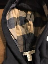 NEW Burberry Men Black Sweater Chest Logo Nova Check Plaid Hoodie M $325