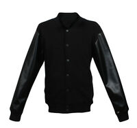 New Men's Plain Letterman Varsity College Baseball Cotton-Leather Jacket Black