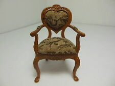 Dollhouse Miniatures Furniture 1/12: 3023wn Upholstered Walnut Chair