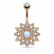 Opal & Crystal Flower Belly Button Ring Navel Barbell Piercing Jewelry