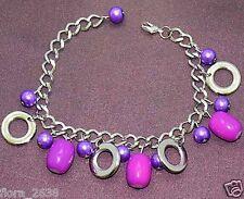 Bracelet souple, gourmette argenté, perles rose, breloques, bijoux fantaisie