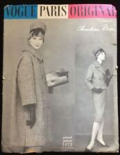 VINTAGE 50'S VOGUE PARIS ORIGINALE 1472 DIOR Suit & COAT cucito Modello B32