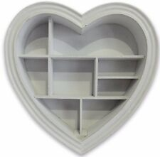 Grey Heart Shape Wooden Decorative Wall Storage Display Shelf Unit  40 x 40 cm
