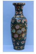 Dekorative große Keramik-Vase mit Blumen Email-Malerei, wohl China - Höhe 60,5