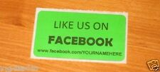 LOT OF 100 GREEN LIKE US ON FACEBOOK CUSTOM YOUR NAME HERE Shipping Stickers 2X1