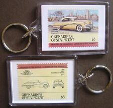 1949 BUICK ROADMASTER RIVIERA Car Stamp Keyring (Auto 100 Automobile)