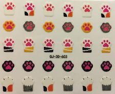 Nail Art 3D Decal Stickers Paw Prints Cat Paw Prints Dog Paw Prints QJ-3D-603
