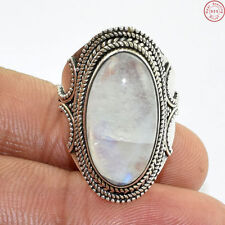 Solid 925 Sterling Silver Natural Moonstone Fire Gems Ring Jewellery S 5.5 AE297
