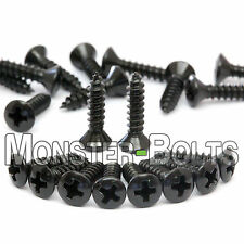 20 - Black Pickguard / Cavity Cover Screws - For Fender Strat Tele Bass Guitar