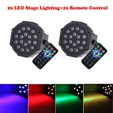 2X RGB 18-LED 36W Stage Lighting Club Bar DJ Party DMX512 LED Par Light + Remote