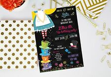 Alice in Wonderland Chalkboard Birthday Party Invitations