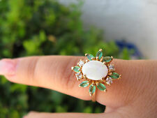 14KT YELLOW GOLD 5.5 SZ GENUINE FIRE OPAL/EMERALD/DIAMOND WOMEN'S RING