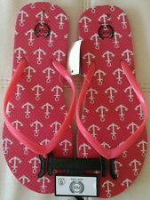 NWT Women's Flip Flops Nautical Anchors Coral Pink Beach Slippers Shoes Size 8