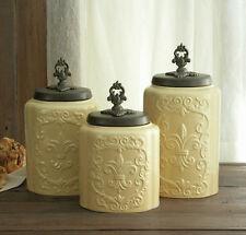 Antique Fleur De Lis Vintage Cannister Set Ceramic Storage Coffee Jar Containers