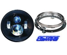 """7"""" Motorcycle Black Projector Daymaker HID LED Light Bulb Headlight For Harley"""