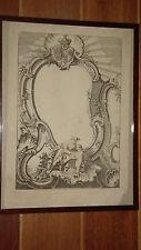 Gravure ancienne XVIIIe Allégorie éloquence de l'Amour Blason royauté dauphin