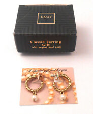 GORGEOUS AVON CLASSIC EARRING GIFT HOOPS FAUX PEARL W/ SURGICAL STEEL POSTS NOS