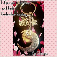 MOON CRESCENT LOVE YOU GODMOTHER  KEYRING FREEPOST&Gift BAG !!!!!!!Posted Asap