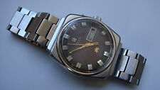 Vintage Men's RICOH AUTOMATIC 21 JEWELS Day-Date Brown Dial Watch Japan