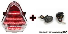 08-16 Yamaha R6 SEQUENTIAL LED Tail Light CLEAR + Flush Mount Turn Signals COMBO
