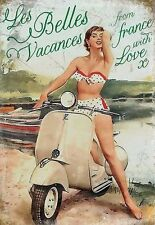 "Vespa Scooter, Italian Classic, ""Les Belles Vacances"" Large Metal/Tin Sign"