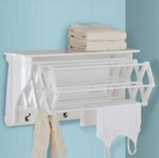 Laundry Room Wall Mount Clothing Drying Rack Hanger Shelf Hooks Air Dryer New