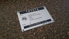 TEQ Toyota Build Plate early model Toyota Corolla Corona Stout Crown Landcruiser