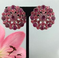Classy Pageant Prom Flower Pink/Fuchsia Crystal Clip-On Stud Earring Silver Tone