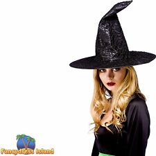 HALLOWEEN BLACK SATIN + MESH WITCH HAT Adults Ladies Womens Fancy Dress