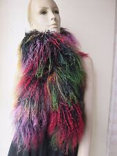 Elegant Fashion hand-made real mongolian Lamb fur overlength scarf/cape colorful