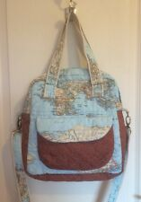 Handmade Map Design Fully Lined Quilted Tote/Shoulder Bag/Messenger Bag - NEW