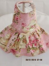 XS Pink Rose Tea Party Print Dog Dress Pet Apparel Clothes Cotton Blend
