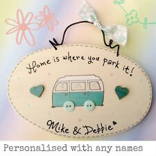 Camper Van Sign Home Is Where You Park It Plaque Personalised With Names - GREEN