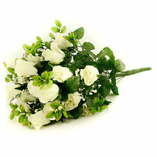 Artificial silk Rose & Gyp flower bouquet 55cm 24 stems of Cream / White Roses