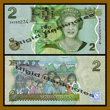 Fiji 2 Dollars, Nd 2007 (2012) P-109 Queen Elizabeth Ii Unc