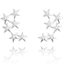 Joma Jewellery Skye crystal stars cluster silver Earrings ear climbers cuff, bag