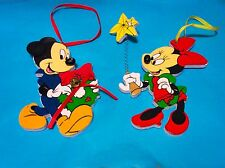 WALT DISNEY COMPANY MICKEY & MINNIE MOUSE WOOD ORNAMENTS FIGURINES COLLECTIBLE
