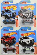 2016 2017 Hot Wheels: '17 FORD F-150 Raptor Truck Blue Gray Red & White SET of 4