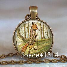 Vintage Mister Fox Cabochon Bronze Glass Chain Pendant Necklace ^XP-526