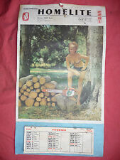 calendrier SEXY ancienne tronçonneuse HOMELITE 1966 CHAIN SAW