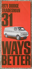 1971 DODGE TRADESMAN Van Original Factory Dealer Sales Brochure Literature