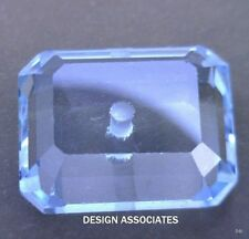 SKY BLUE TOPAZ 11X9  MM EMERALD CUT CENTER DRILLED   ALL NATURAL  AAA