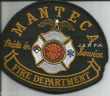 "Manteca - Pride in Service, CA   (4"" x 3.5"" size)  fire patch"