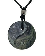 Green Kambaba Jasper Yin Yang Pendant Hand Carved Natural Gemstone Jewelry Gift