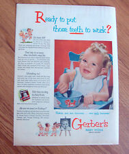 1951 Gerber's Baby Foods Ad Ready to put those Teeth to Work?