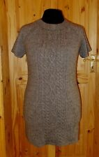 M&S mole mushroom brown WOOL cable knitted short sleeve jumper dress top 16 44