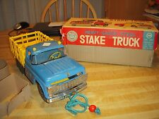 Ideal Vintage Large Ford Stake Truck Delivery Pressed Steel Toy San Marusan