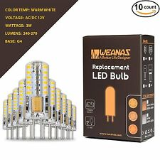 Weanas10PCS G4 LED Light Bulbs Warm White 3W Bright AC DC 12V Non-dimmable SMD