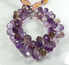"425.35Cts. NATURAL AMETRINE TEAR DROP BRIOLETTE FACETED GEMSTONE BEADS 8"" STRAND"