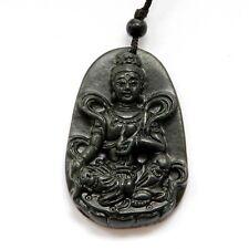 Black Green Jade Tibet Buddhist Guanyin Kwan Yin Bodhisattva Amulet Pendant
